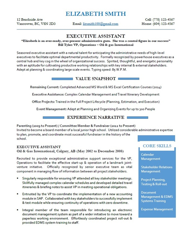 Victoria Resume Services - Executive Assistant Resume Sample