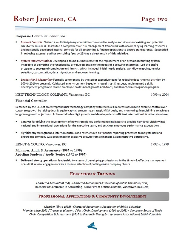 Victoria Resume Writing - Accountant / Controller Resume Sample